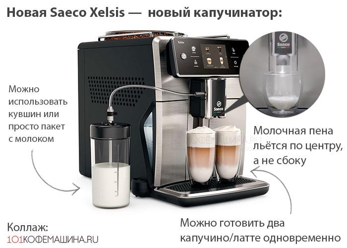 Новая Saeco Xelsis — новый капучинатор. На фото: кофемашина Philips Saeco SM7683/00. Аналогичный у Saeco SM7580/00 и Saeco SM7685/00