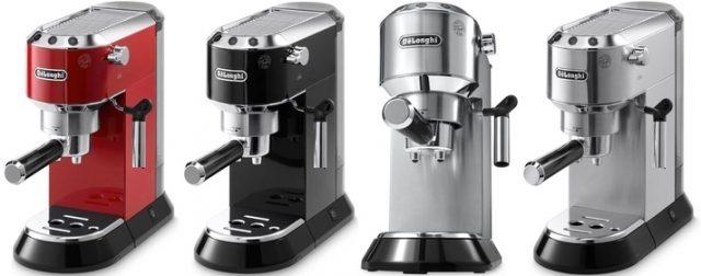 Кофеварки Delonghi ec680: красная, черная и серебристая.