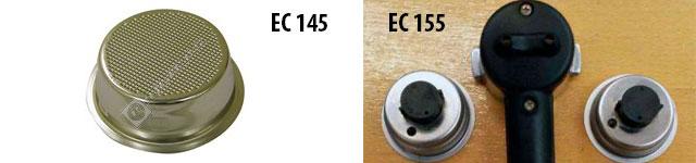 Разное устройство корзины-фильтра у Delonghi EC145 и EC155. Источник фото: espares.co.uk, olx.ua