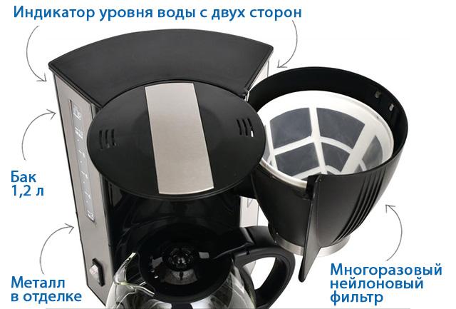 Кофеварка капельная Vitek VT-1509 фото и схема