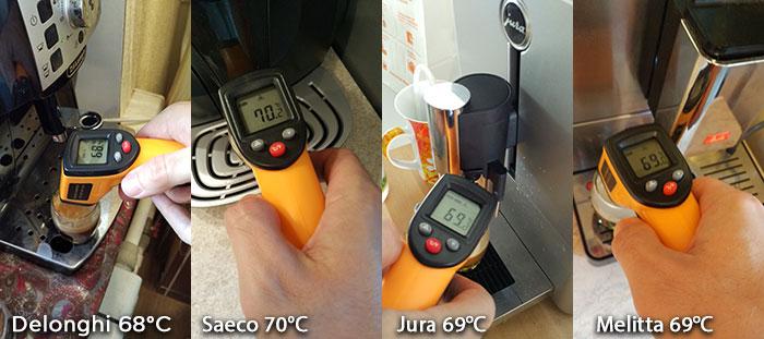температура кофе на разных кофемашинах