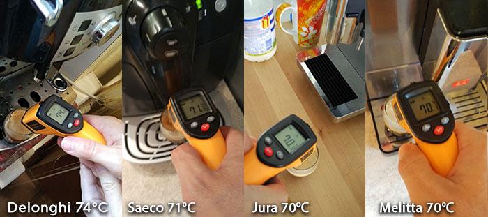 температура эспрессо на кофемашинах Delonghi Saeco Jura Melitta