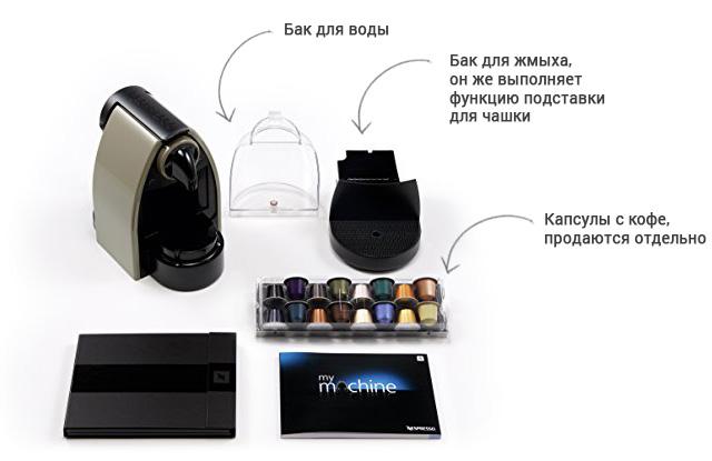 Комплект поставки кофемашины Крупс Неспрессо XN214010