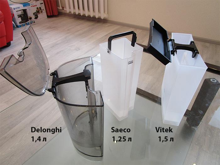 Чем отличаются баки для воды у рожковых кофеврок Делонги, Саеко, Витек