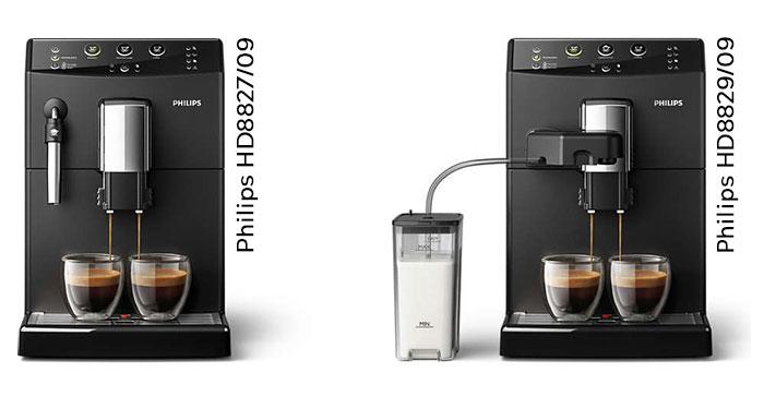 Сравнение кофемашин Philips HD8827 и HD8829
