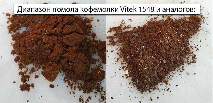 Диапазон помола кофемолки Vitek 1548 и аналогов: