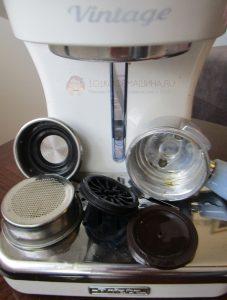 Разборный фильтр-крема (улучшайзер), корзины и рожоко кофеварки Ariete 1389 Vintage