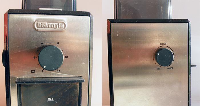 Регулировка помола и количества кофе на кофемолке Делонги 89, аналогичные регулировки - на 79-ой модели