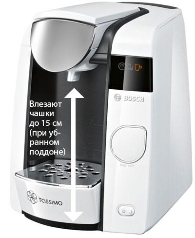Максимальная высота чашки кофевраки Бош Тассимо Джой
