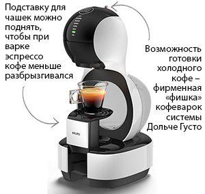 Режим холодного кофе и подставка для чашек с регулировкой высоты