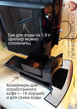 Jura D6: баки для воды, кофейного жмыха и слива