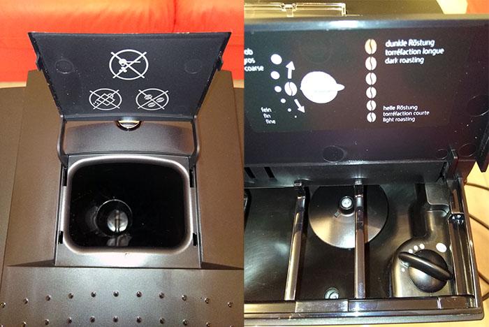 Шахта для молотого кофе и отсек для зерен Jura D60