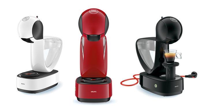 Кофемашина капсульного типа Krups Infinissima выпускается в трех цветах: белый, красный, черный.