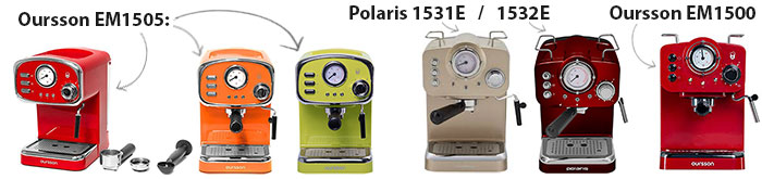 Кофеварки Oursson EM1505/1500 в сравнении с Polaris PCM1531E/1532E
