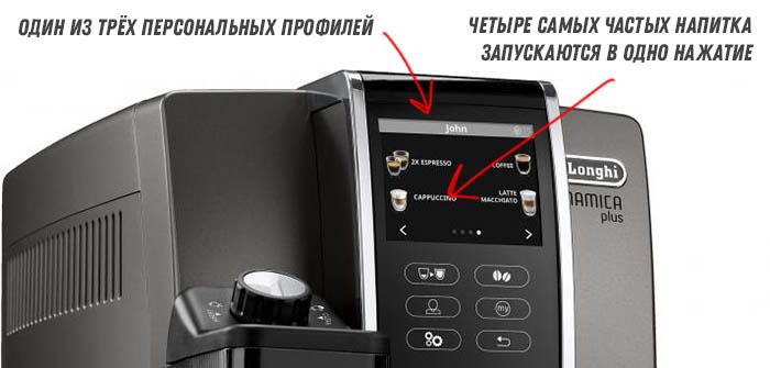 Панель управления кофемашины De Longhi ECAM 370.95.T Dinamica Plus