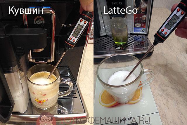 Температура молока и капучино на кофемашинах Philips и Saeco: с классическим кувшином, и с молочником LatteGo