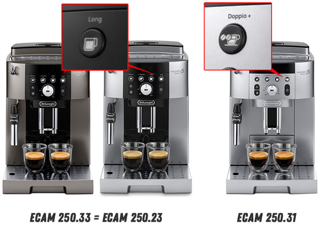 Отличия кофемашин Delonghi ECAM 250.23.SB, 250.33.TB и 250.31.SB