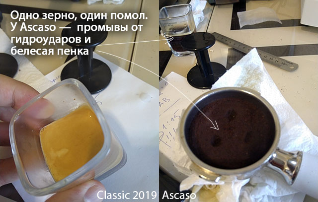 Эспрессо на Gaggia Classic 2019 в сравнении с Ascaso Basic/Dream
