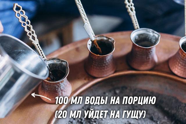 Заливаем в турку холодную воду в соотношении 1:10 к кофе