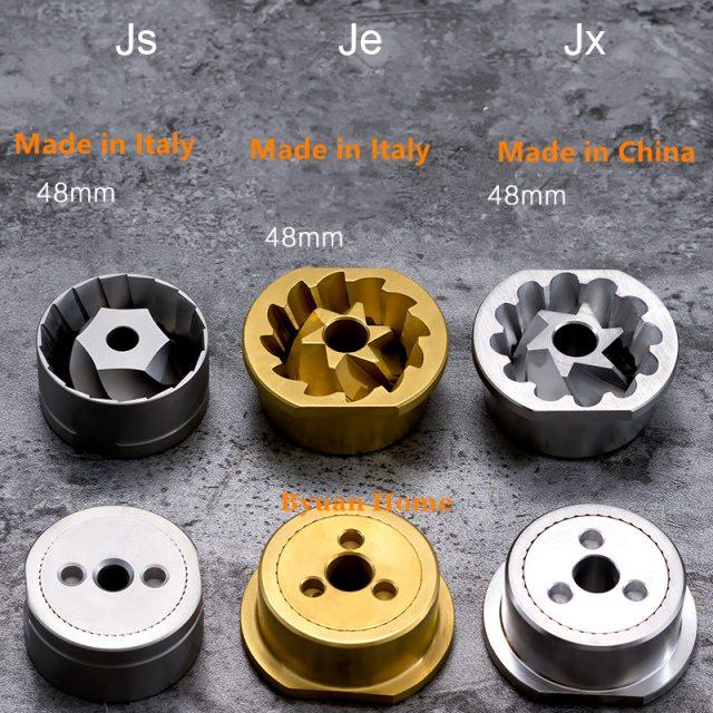 Различия жерновов JS, JE и JX у кофемолки MYM60=1Zpresso JX.