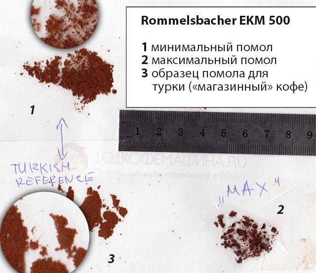 Минимальный и максимальный помол на Роммельсбахер ЕКМ 500