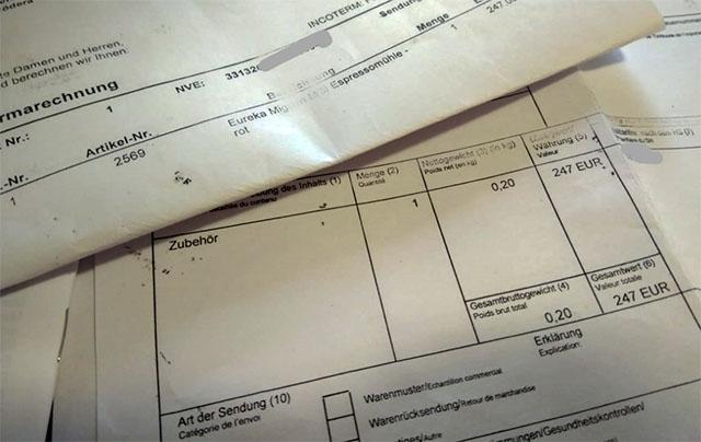 Invoice (Rechnung) для таможни