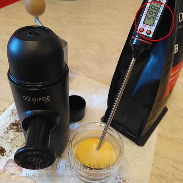 Темепратура эспрессо 40 мл в чашке на Wacaco