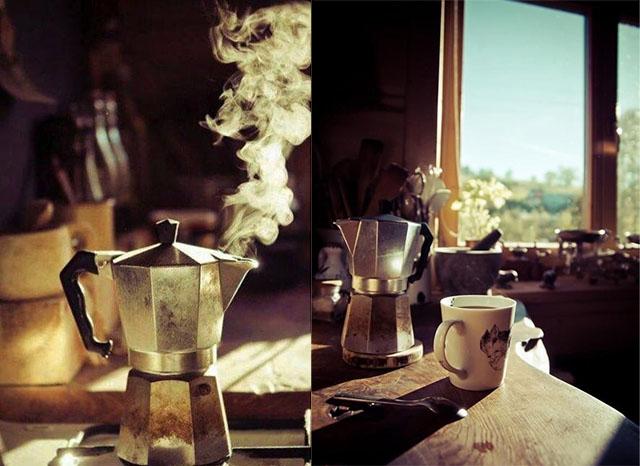 Гейзерная кофеварка на даче