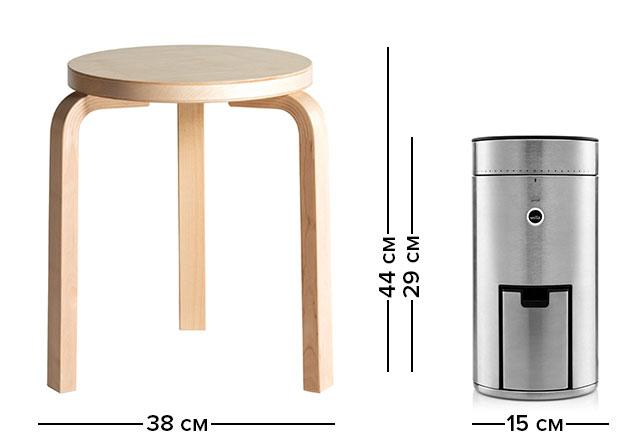 Габариты (размеры) кофемолки Wilfa Svart Umifotm (и Stool 60)