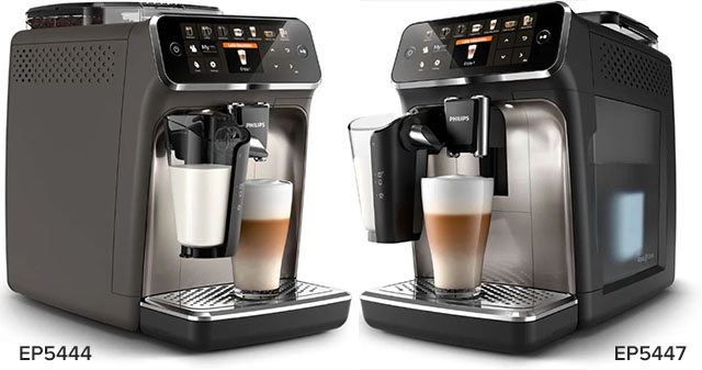Отличия модификаций кофемашина серии Philips Series 5400 только в цвете: сравнение EP5444 и EP5447