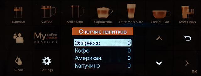 Счетчик приготовленных чашек кофе в меню
