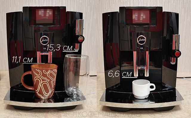Минимальные и максимальные высоты чашек в случае черного кофе и в случае молочных напитков у кофемашины Джура E8 2020