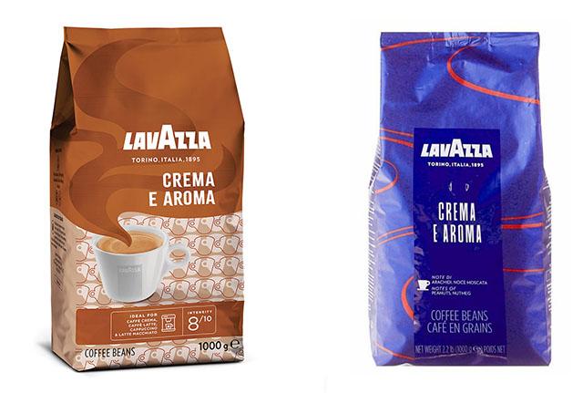 Lavazza Crema e Aroma: отличия синей и бежевой пачек