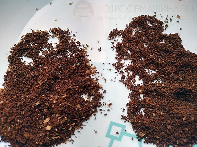 У кофемолки Тайммор Честнат Икс в помоле сохранены крупные куски сильверсина, его лекго удалить, просеяв.