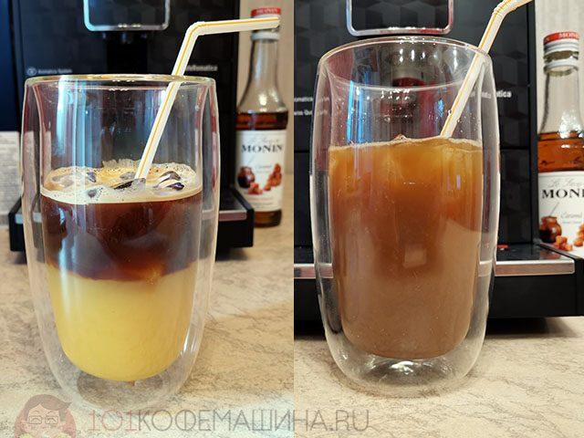 Бамбл кофе подается неперемешанным (слева)