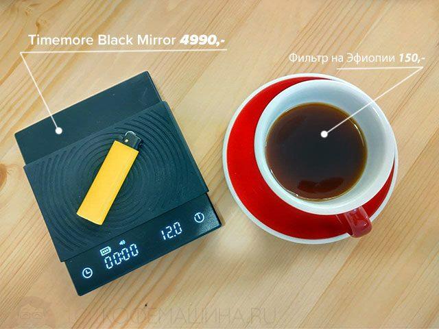 Весы бариста Timemore Black Mirror и фильтр на Эфиопии