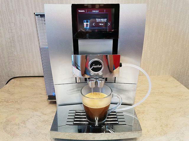 Приготовление порции американона кофемашину Jura Z10: эспрессо + горчая вода