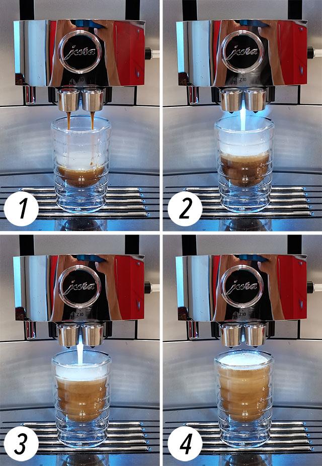 Кофе кортадо в автоматической кофемашине Jura Z10 EA
